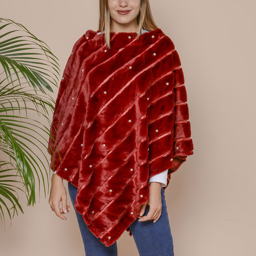 Striped Faux Fur Poncho with Plastic Pearl Beads (Size 100x84 cm) - Burgundy