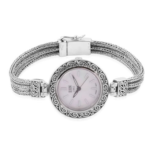 Royal Bali Collection EON 1962 Swiss Movement 3ATM Water Resistant Watch (Size 8)  with MOP Dial  in Rhodium Plated Sterling Silver with Tulang Naga Chain, Silver wt. 22.00 Gms