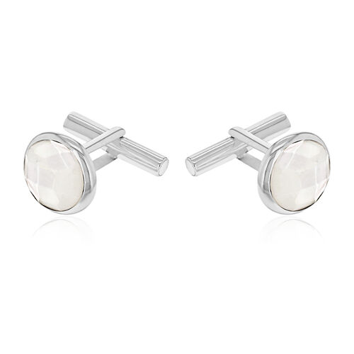 One Time Deal - Sterling Silver MOP Cufflinks.Silver Wt 7.00 Gm