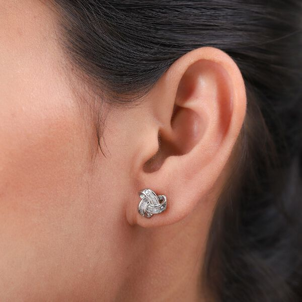 Diamond Triple Knot Earrings (with Push Back)  in Platinum Overlay Sterling Silver 0.250 Ct.