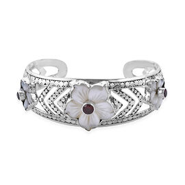 Bali Collection Mother of Pearl,Mozambique Garnet and Rhodolite Garnet Bangle (Size 7) in Sterling S