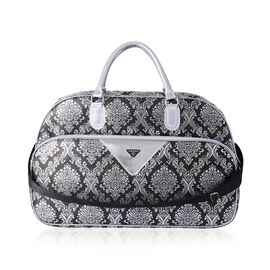 Extra Large Weekend Bag with Black and Silver Pattern and Removable Shoulder Strap (Size 53x34x22 Cm) Black and Silver Colour
