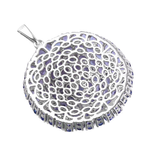 Premium Tanzanite Cluster Pendant in Platinum Overlay Sterling Silver 14.75 Ct, Silver wt. 12.05 Gms