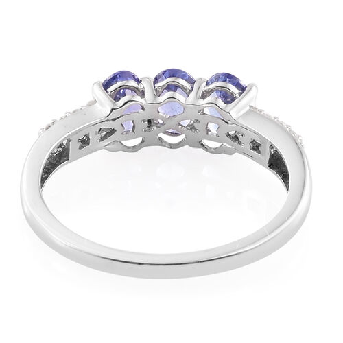 9K White Gold 1.50 Carat AA Tanzanite Ring with Natural Cambodian Zircon