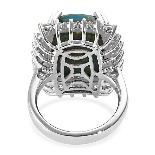 Natural Peruvian Peacock Opalina (Cush 18x13 mm), Natural Cambodian Zircon Ring in Platinum Overlay Sterling Silver 12.00 Ct, Silver wt 6.92 Gms.