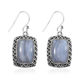 Artisan Crafted Blue Lace Agate (Cush) Hook Earrings in Sterling Silver 11.870 Ct, Silver wt 6.07 Gm