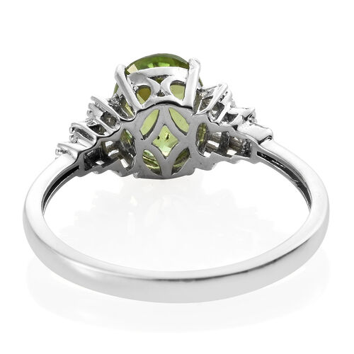 Rare Size Hebei Peridot (Ovl), Diamond Ring in Platinum Overlay Sterling Silver 3.000 Ct.