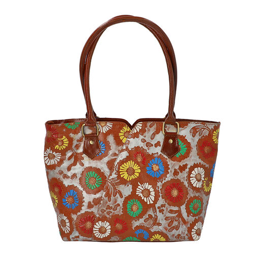 100% Genuine Leather Colourful Flowers Pattern Shoulder Bag (Size 29x10x26 Cm) - Tan