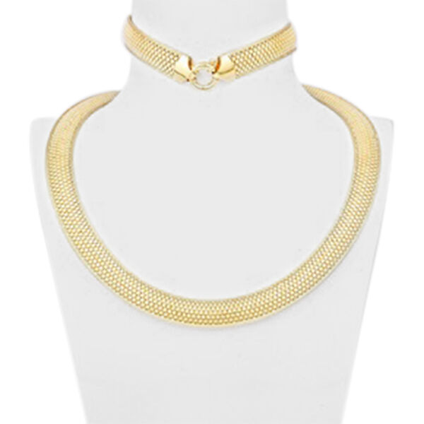 Vicenza Collection Bismark Chain Necklace in 9K Yellow Gold 17 with 3 inch Extender