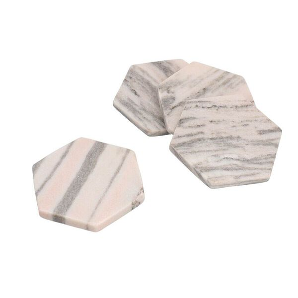 Set of 4 - Hexagon Shaped Marble Coasters (Size 10x10cm) - Pink