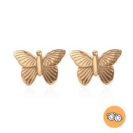 Children Butterfly Stud Earrings in Gold Plated Sterling Silver with Push Back