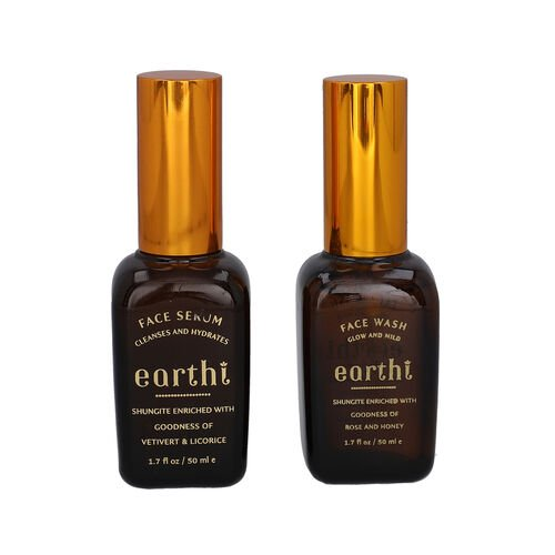 Shungite Enriched Earthi Vetiver and Licorice Face Serum with Complementary Rose Face Wash (50ml+50m