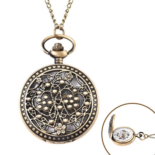 GENOA Automatic Mechanical Hollow-Out Flowers and Dots Pattern Pocket Watch with Chain in Antique Br