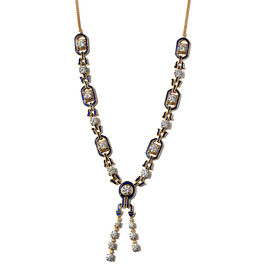 J Francis 14K Gold Overlay Sterling Silver Enamelled Necklace (Size 20 with Ext.) Made with SWAROVSK
