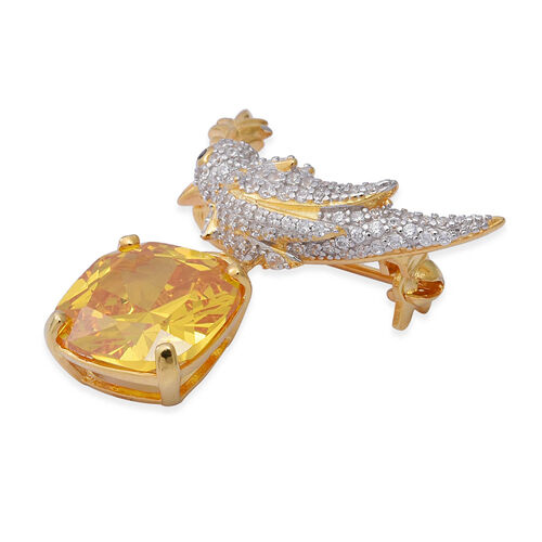 Simulated Yellow Diamond,Simulated Diamond Brooch in Dual Tone in Sterling Silver