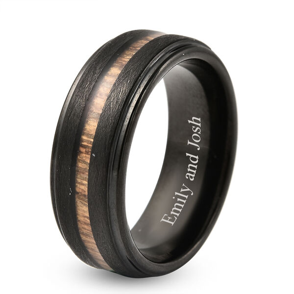 Personalised Engravable Acacia Wood Tungsten Secret Message Band Ring, Size 8 MM