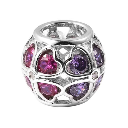 Charms De Memoire Simulated Diamond and Multi Colour Gemstone Charm in Rhodium Overlay Sterling Silver