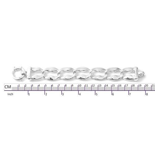 Rhodium Overlay Sterling Silver Bracelet (Size 7.5), Silver wt 21.36 Gms.