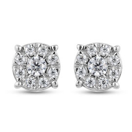 Moissanite Floral Stud Earrings (with Push Back) in Platinum Overlay Sterling Silver