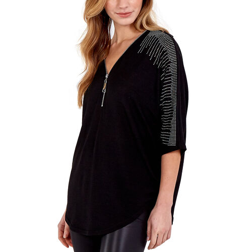 Nova of London - Zip Front Diamante Loose Fitting Black Top (M/L, 16-18)