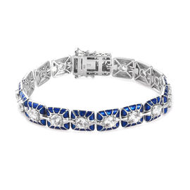 J Francis Platinum Over Sterling Silver Tennis Bracelet (Size 7.5) Made with SWAROVSKI ZIRCONIA 8.50