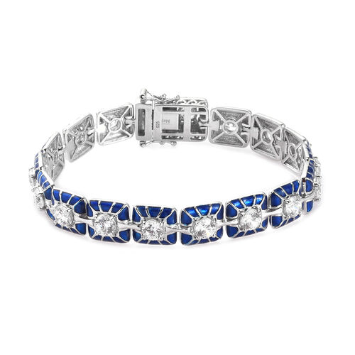 J Francis Platinum Over Sterling Silver Tennis Bracelet (Size 7.5) Made with SWAROVSKI ZIRCONIA 8.50