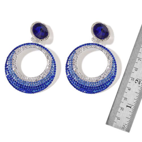 Simulated Tanzanite, Sapphire Blue and White Austrian Crystal Earrings (with French Clip) in Silver Tone