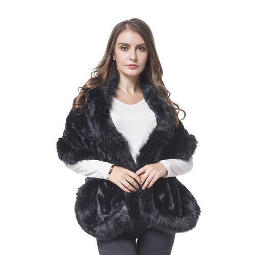 Designer Inspired-Black Colour Faux Fur Shawl (Size 150X40 Cm)