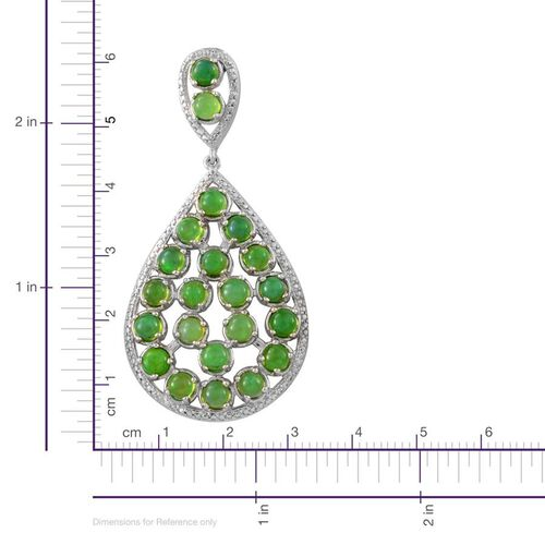 Green Ethiopian Opal (Rnd) Drop Earrings (With Push Back) in Platinum Overlay Sterling Silver 9.000 Ct.