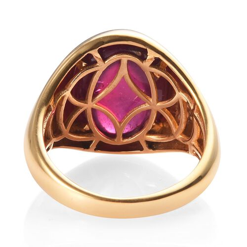 AAA African Ruby Solitaire Ring in 14K Gold Overlay Sterling Silver 15.50 Ct, Silver wt 5.98 Gms