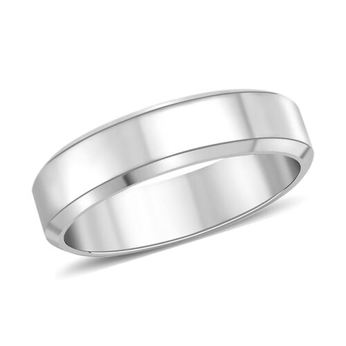 Bevelled Edge Band Ring in 9K White Gold 4.20 Grams