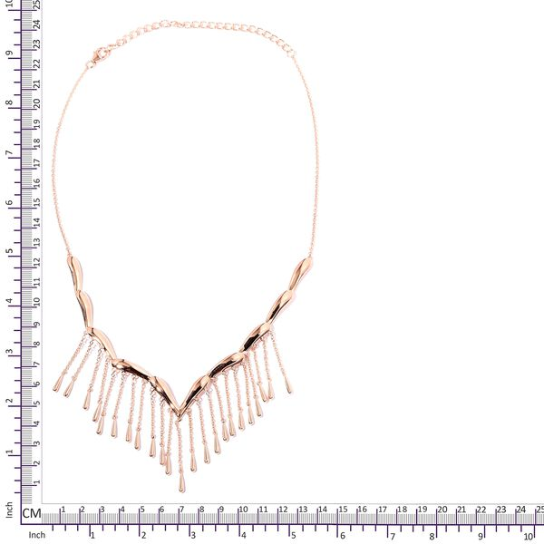 LucyQ Rain Necklace (Size 16 and 4 inch Extender) in Rose Gold Overlay Sterling Silver, Silver wt 22.11 Gms.