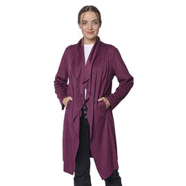 LA MAREY Faux Suede Long Waterfall Open Front Jacket in Plum Colour