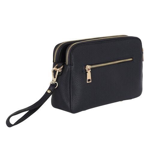 Kris Ana Triple Zipper Crossbody Bag (23x7x18cm) with Detachable Shoulder Strap- Black