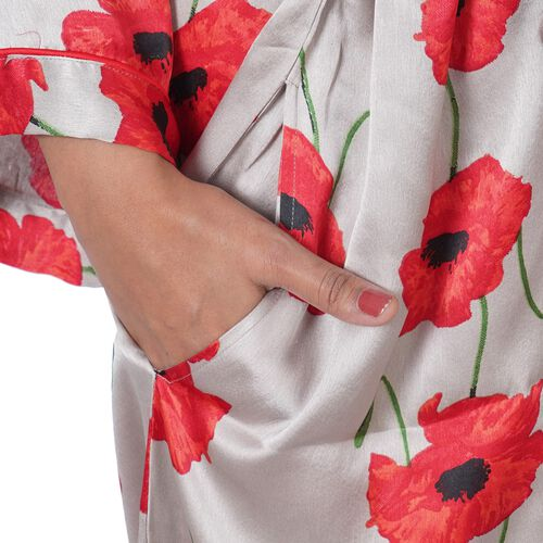Poppy Floral Printed Satin Robe with Bell Sleeve (Size S  8-10) - Grey