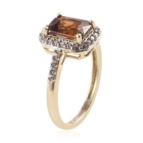 9K Yellow Gold Red Zircon and Natural Cambodian Zircon Ring 2.85 Ct.