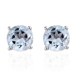 Sky Blue Topaz (Rnd) Stud Earrings (with Push Back) in Platinum Overlay Sterling Silver 3.000 Ct.