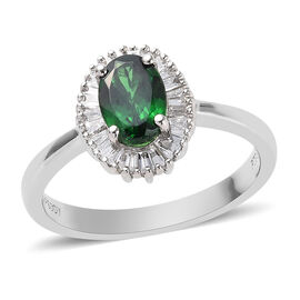 RHAPSODY 1 Carat AAAA Tsavorite Garnet and Diamond Halo Ring in 950 Platinum 4.26 Grams VS EF
