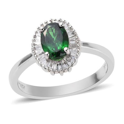 RHAPSODY 1 Carat AAAA Tsavorite Garnet and Diamond Halo Ring in 950 Platinum 4.26 Grams VS EF