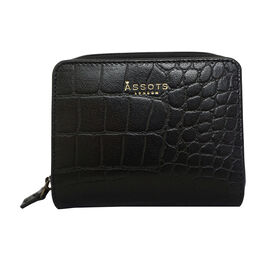 Assots London Croc Embossed Leather Zip Purse (Size 12x10cm) - Black