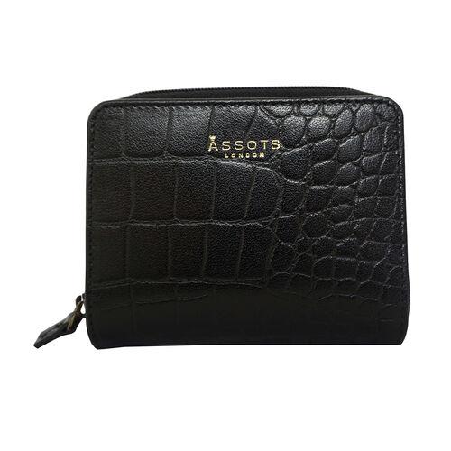 Assots London Croc Embossed Leather Zip Purse (Size 12x10cm) - Black