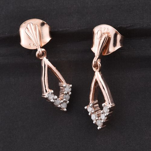 Silver Diamond Earrings (with Push Back) in Rose Gold Overlay