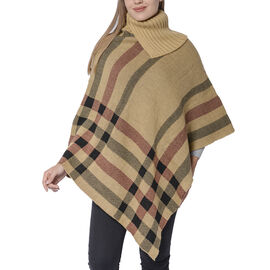 Designer Inspired- Camel & Black Colour Roll Neck Checker Pattern Poncho (Size 68x90 Cm)