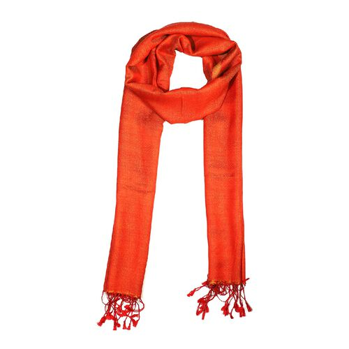 Limited Edition - Silk and Woolen Blended Shawl (Size 70x200 mm) with Tassels - Rust Orange