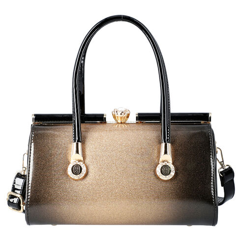 BOUTIQUE COLLECTION Gold and Black Barrel Style Bag with Detachable and Adjustable Shoulder Strap (S