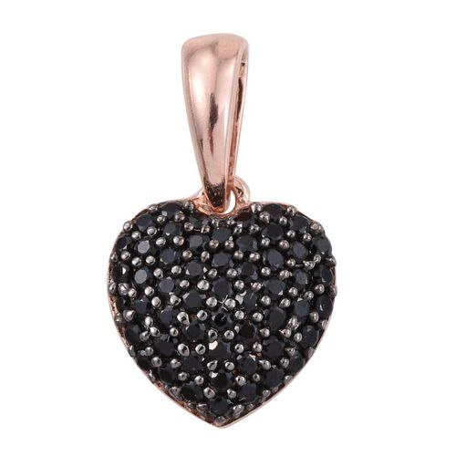 Boi Ploi Black Spinel Heart Pendant in Rose Gold Overlay Sterling Silver 0.500 Ct.
