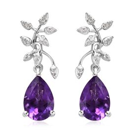 Amethyst (Pear 12x8 mm), Natural Cambodian Zircon Leaf Drop Earrings (with Push Back) in Platinum Ov