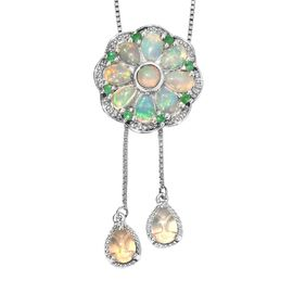 GP Ethiopian Welo Opal (Rnd and Pear), Kagem Zambian Emerald and Blue Sapphire Floral Design Necklac