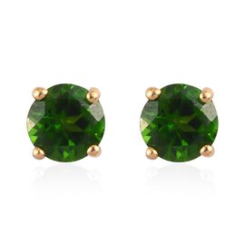 Russian Diopside Solitaire Stud Push Post Earring in 14K Gold Overlay Sterling Silver 0.23 ct  1.000