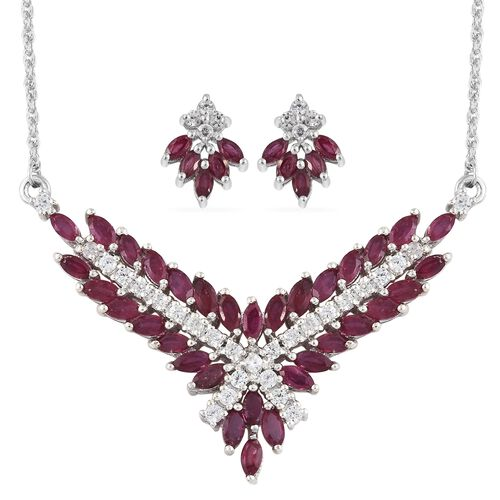 African Ruby (Mrq), Natural Cambodian Zircon Necklace (Size 18) and Stud Earrings (with Push Back) in Platinum Overlay Sterling Silver 6.500 Ct. Silver wt 8.34 Gms.